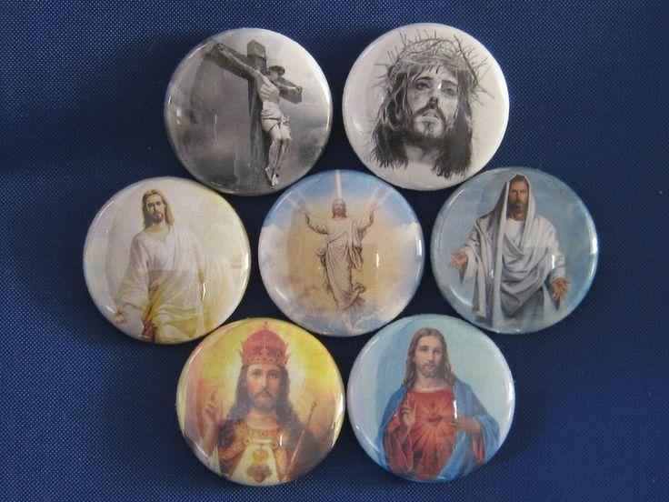 "JESUS CHRIST  Set of 7 SELECT SIZE 1""- 1.25"" OR 2.2"" Pinback Button Badge #WTNAButtonsUSA"