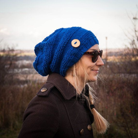 Blue Slouchy Beanie Hat With Handmade Wooden Button by RUKAMIshop