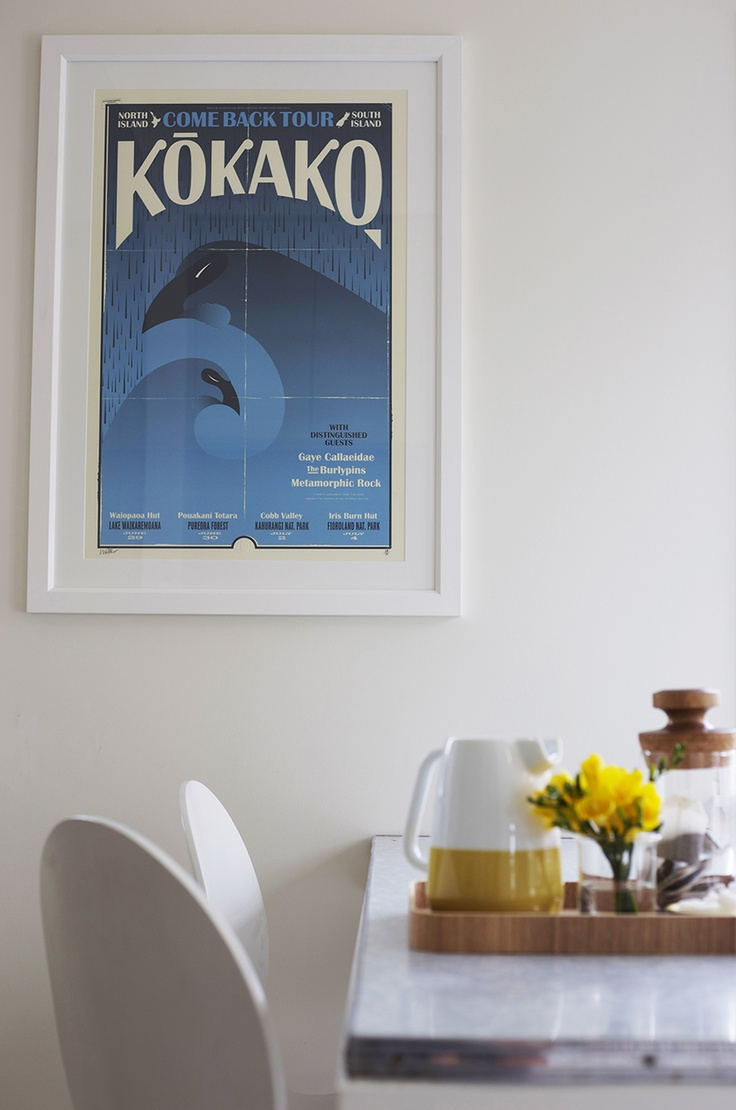 Home Staging by Places & Graces. 'Kokako' art print by Walter Hansen, endemicworld.com.