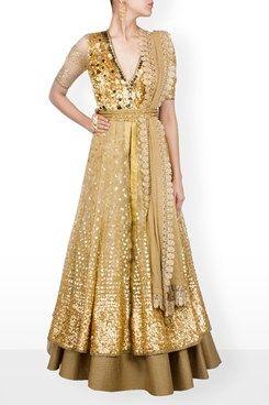 Anarkali, Gold 3D applique sequins net over lay anarkali gown
