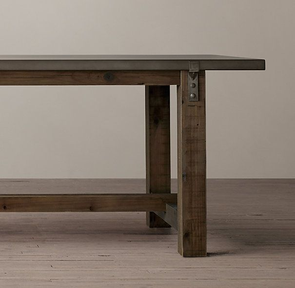 Wood Table Reclaimed Wood Table Zinc Top - Rh concrete table