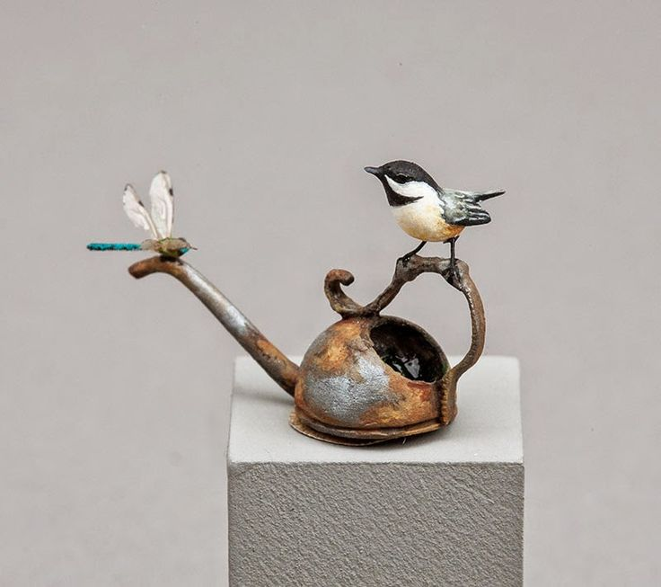 Chickadee on water can by Beth Freeman-Kane