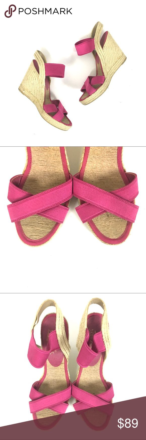 Nine West hot pink espadrille wedges Nine West. Hot pink stretchy straps. Gently used. I only wore them twice espadrille bottoms to the wedge. Light wear to the bottoms and to the raffia edges. Size 10   🌹no trades 🌹discounts on bundles of 2+  🌹1000 items listed, take a peak!  🌹suggested user, posh compliant:) Nine West Shoes Espadrilles