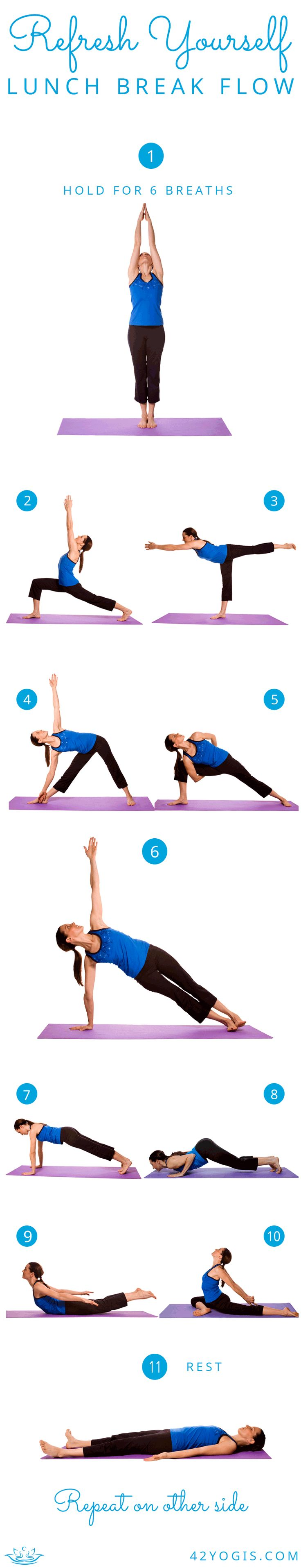 This is a great little yoga flow for your lunch break that will rejuvenate you and leave you feeling ready to conquer the rest of the day.   42Yogis.com: Launching 4/2/2014