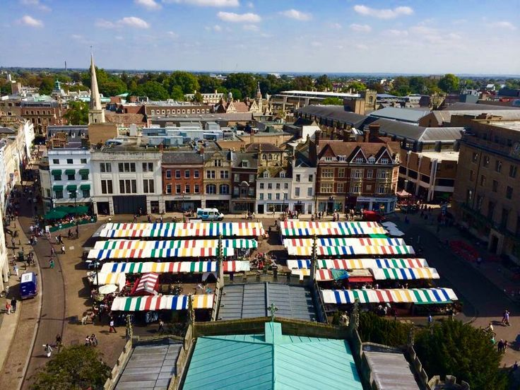 Colourful canopies at Cambridge Market