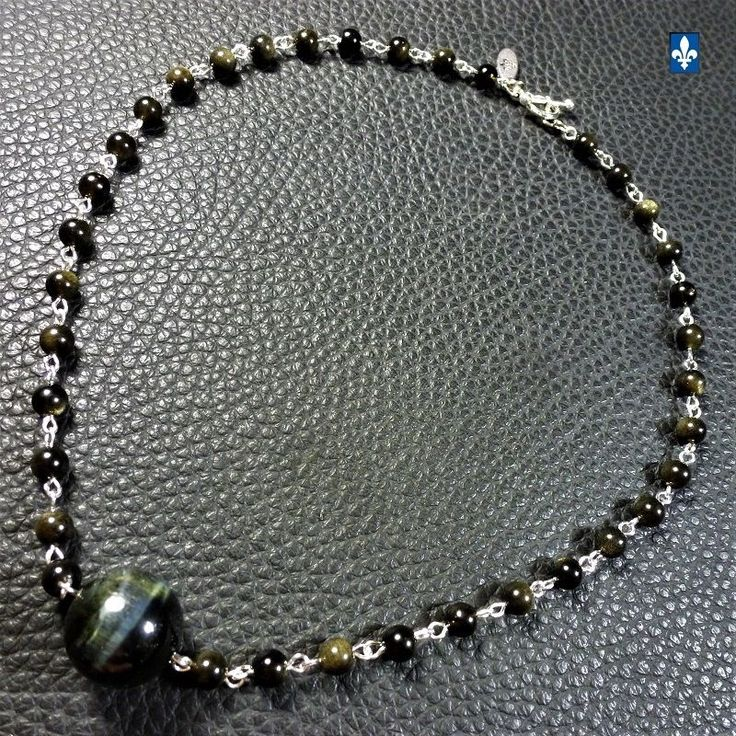♥ Adorable Celestial Obsidian & Tiger's Eye Plated Silver Necklace