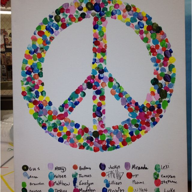 "Fingerprint peace sign--totally doing this with my students this year ""Peace Love and Learning!"""