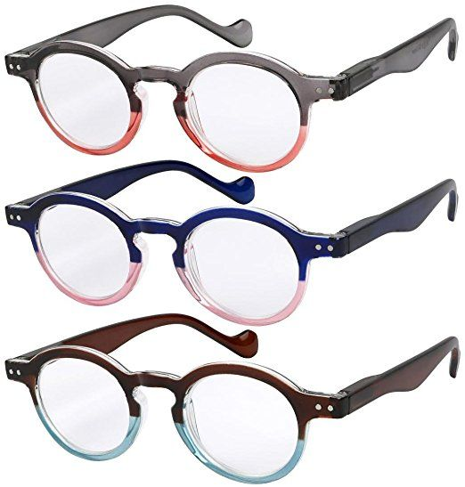 a42104bb305 Reading Glasses 3 Pairs Fashion Springe Hinge Readers Glasses for Reading  Men and Women Review