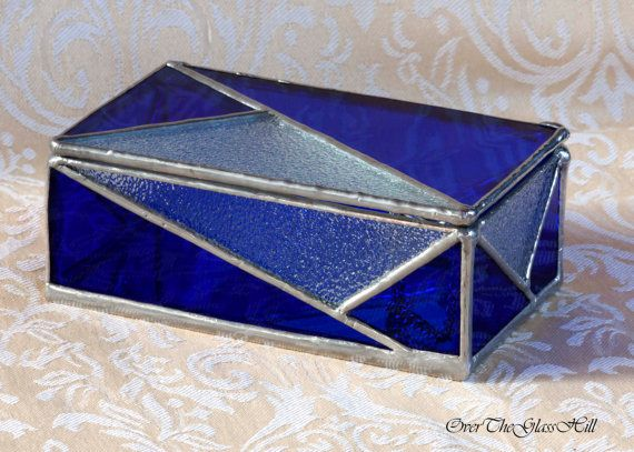 Cobalt Blue Tiffany Stained Glass Jewelry Box by OverTheGlassHill