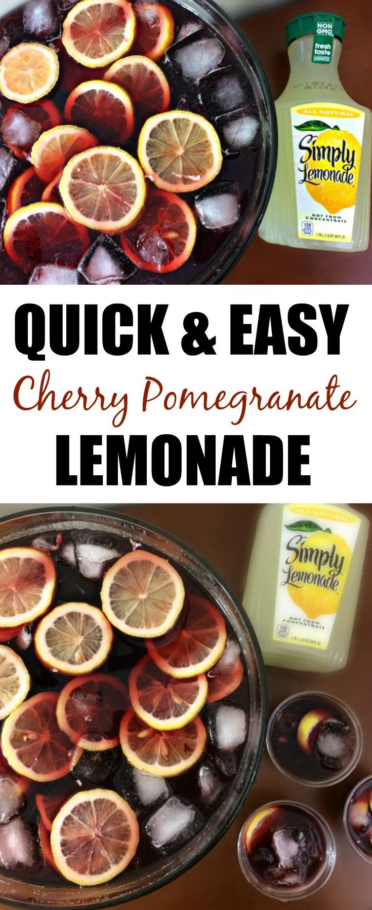 This Cherry Pomegranate Lemonade is so delicious, and really easy to make! Your guests will absolutely love this festive holiday punch! Find the ingredients at Sam's Club!  #SimplyHolidaysAtSams #ad