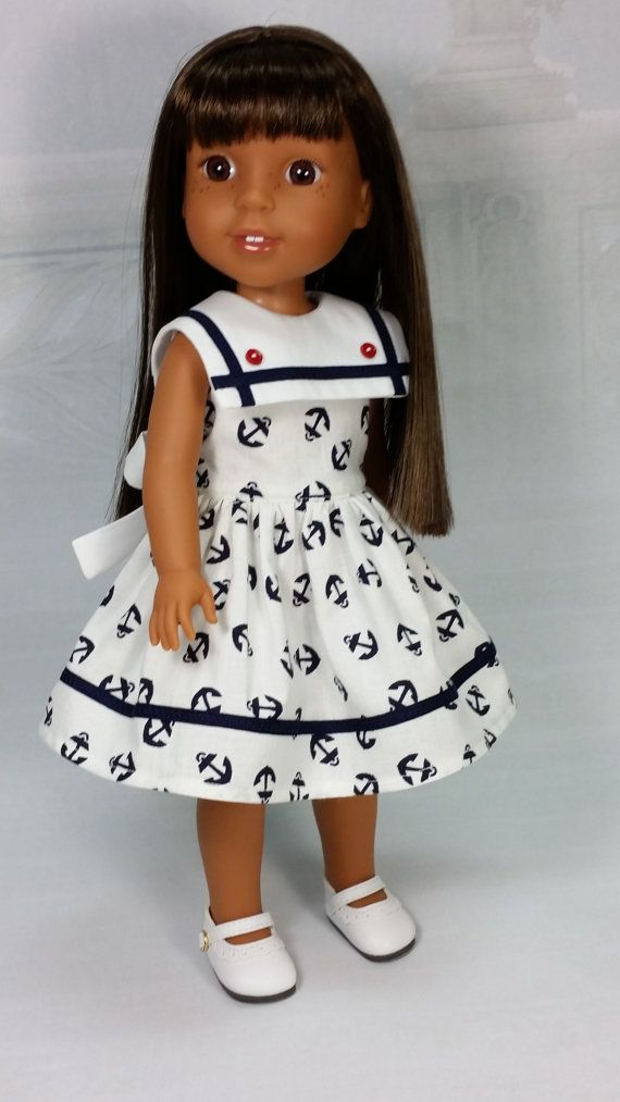Doll Clothes, Wellie Wisher Nautical Dress with White Collar and Tie, American…