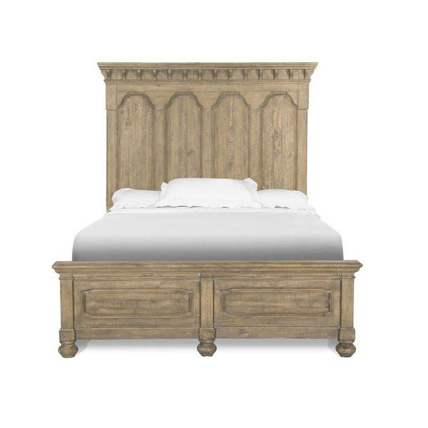 European and Gustavian influences abound in the inviting collection. Uniquely finished in a cracked wheat with soft dusty waxed gray, pine solids and veneer are crafted into cases with shaped arches, raised panels and curvaceous corners for an updated and sophisticated farmhouse feel. Choose from the button tufted and shaped wood frame upholstered bed or the wonderful mansion style arched panel bed available with or without storage or the low panel bed that features trellis inspired blind…
