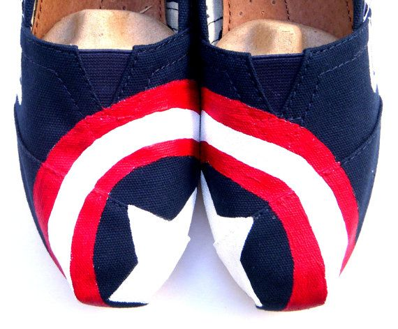 Captain America - Red White and Blue Custom TOMS on Etsy, $135.00