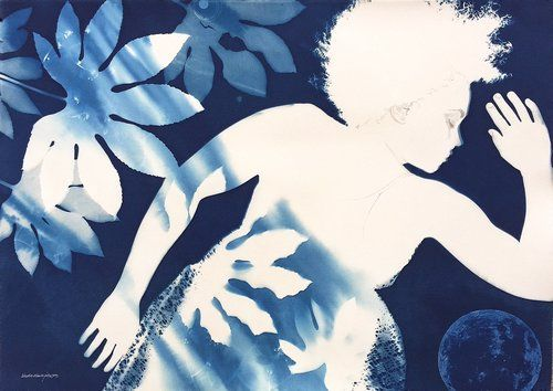 Between Dreaming and Dawn  |  41 x 29.5 | cyanotype double exposure, graphite, collage | $800