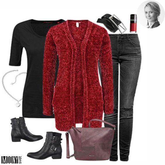 Pletené svetre a kardigány sú stále v kurze ❤ A červená + čierna abf11889511