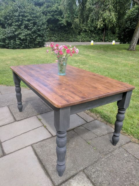 Rustic wooden farmhouse kitchen/dining table. Charcoal shabby chic. Completely refurbished farmho