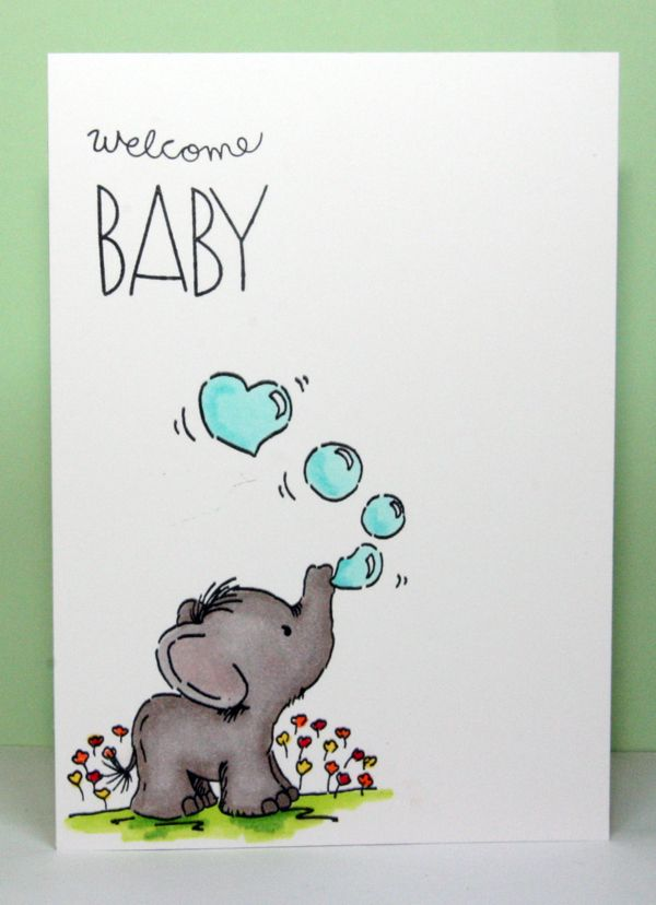 Lili of the Valley stamp blowing bubbles. coloured with Spectrum Noir markers and sentiment is from Simon Says Stamp baby party animals
