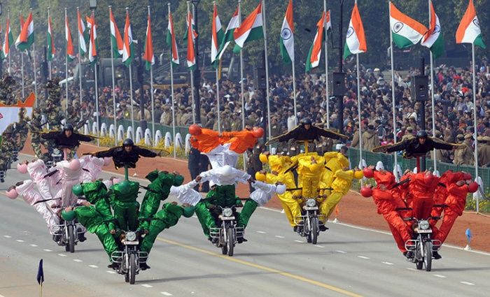 India Republic Day: Indian Border Security Force soldiers perform motorcycle stunt, New Delhi