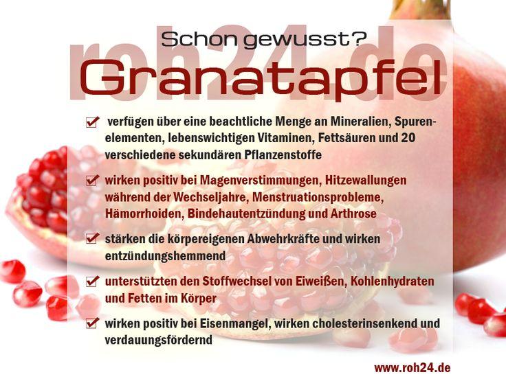 Schon gewusst?  Interessante Infos zu unserem Superfood Granatapfel  Granatäpfel gehören zu den gesündesten natürlichen Lebensmitteln. Die Granatapfelsamen sind voller Kalium, Folsäure, Eisen und B-Vitamine, liefern eine Menge Vitamin C, viele Ballaststoffe bei sehr wenig Kalorien und besitzen entzündungshemmende Eigenschaften.   www.roh24.de/rohkost/granatapfelkerne-granatapfelsamen-getrocknet-bio-kba