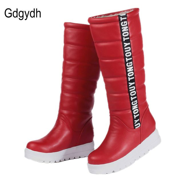 Best Price $26.93, Buy Gdgydh Winter Women Shoes Knee high Boots Female Elevator Flat Thermal Velvet Snow Boots Platform Cotton-padded Shoes Size 34-43