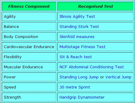 Tests for fitness components http://www.brianmac.co.uk/conditon ...