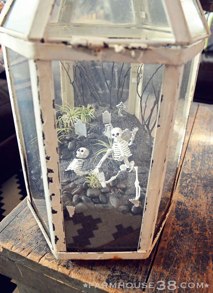 A Halloween terrarium featuring tiny skeletons, a tiny graveyard, and tiny tillandsias at Farmhouse38.com.