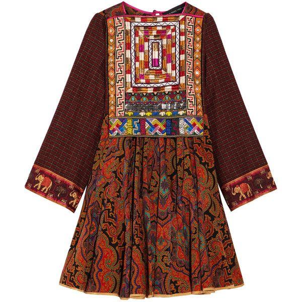 Etro Embroidered printed wool mini dress (11 765 PLN) ❤ liked on Polyvore featuring dresses, short mini skirts, short skirt, short kimono dress, brown dresses and kimono dress