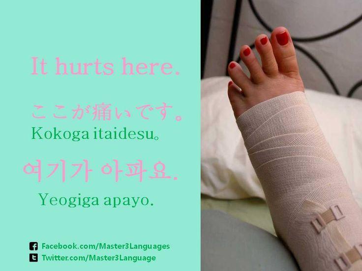 How do you say 'It hurts here.' in your language? - Japanese: ここが痛いです。(koko ga itai desu.) - Korean: 여기가 아파요. (yeogiga apayo.)  Source: http://tmblr.co/ZPTyEk1xloQC9 #hospital #pain