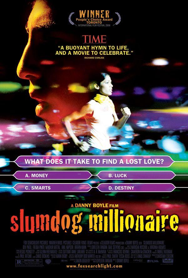 """Slumdog Millionaire"" (2008) / Directors: Danny Boyle, Loveleen Tandan / Writers: Simon Beaufoy (screenplay), Vikas Swarup (novel) / Stars: Dev Patel, Saurabh Shukla, Anil Kapoor #poster"