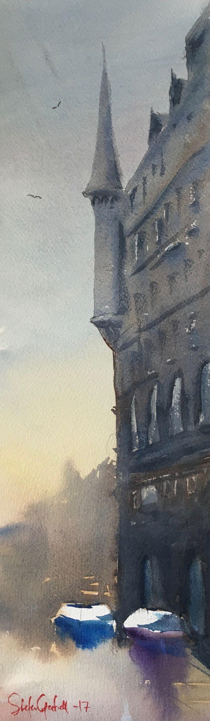 Söder Mälarstrand. Akvarell av Stefan Gadnell
