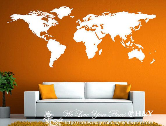 I NEED this. Today.  World Map Wall Art Vinyl Decal Stickers Home by RespectPrinting, $48.