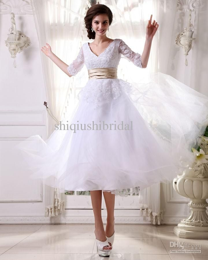 Wholesale A-Line Wedding Dresses - Buy Actual Image Short Wedding Dresses Jewel Lace And Taffeta A-line Crystal Mini Beach Casual Bridal Gown New Fasion 2013 Beach-0036, $92.0 | DHgate
