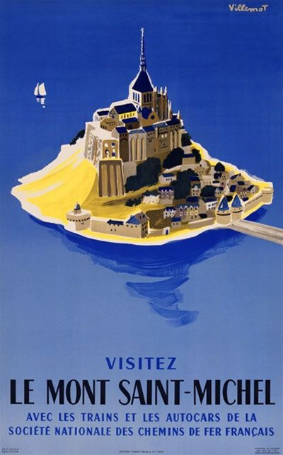 Le Mont Saint Michel by Bernard Villemont 1954 France - Beautiful Vintage Poster Reproductions. This vertical French travel poster features an island village with a castle in the center, a bridge and a sailboat. Giclee Advertising Print. Classic Posters
