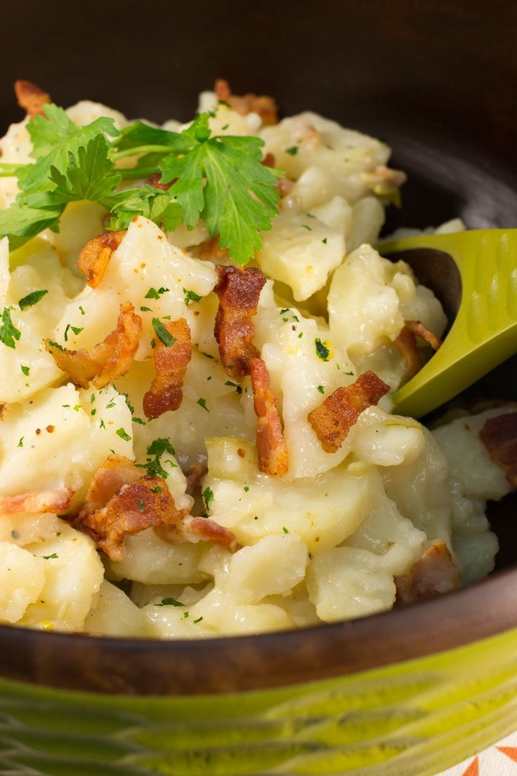 This Old-Fashioned Wisconsin German Potato Salad from RecipeLion takes this classic deli salad and adds a smoky, savory twist from a little bit of bacon. Take it to your next potluck, and it'll be the talk of the buffet table.