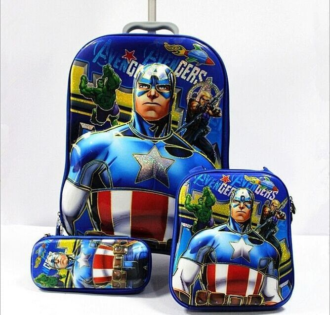 Cool Boy's Superhero High-Quality Trolley Spinner Wheel 3-PC Travel Luggage Set 7 Colors