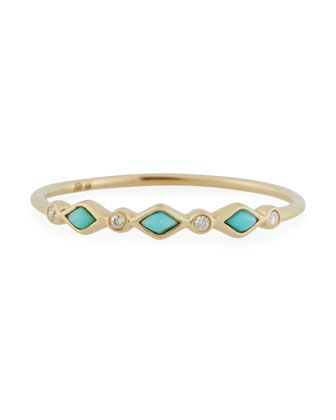 Turquoise+Bezel+&+Diamond+Stacking+Ring+by+Sydney+Evan+at+Neiman+Marcus.