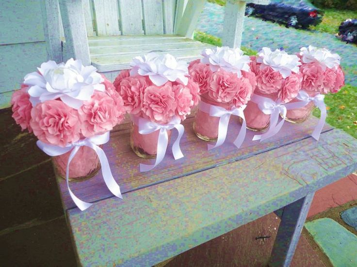 Wedding party centerpieces made of pink carnation and white peonies - Posh Studios