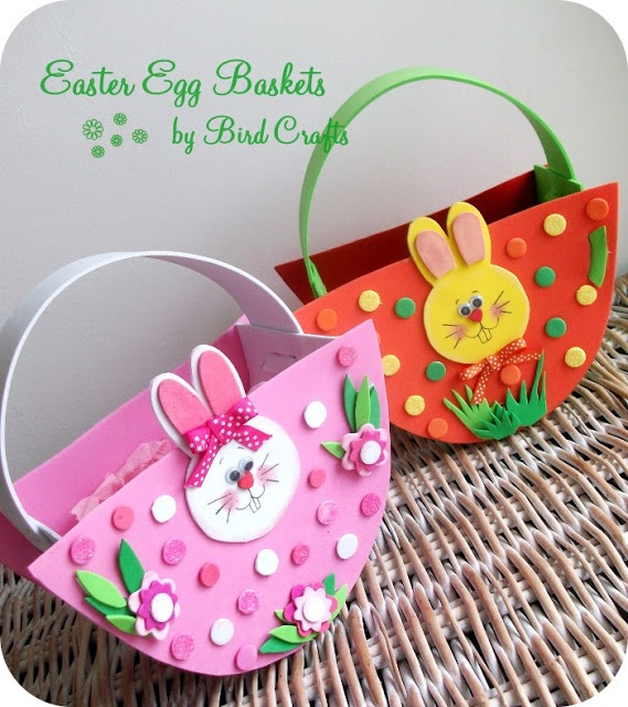 Make your own Easter Basket from coloured foam - template included