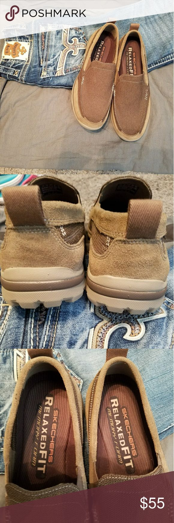 NWOT SKECHERS with Memory Foam size 13/ 47.5 NWOT SKECHERS slip on shoes with Memory Foam. They are made of a canvas and suede material. You can wear this shoe with jeans, shorts or dress pants, a very versatile shoe! Skechers Shoes Loafers & Slip-Ons