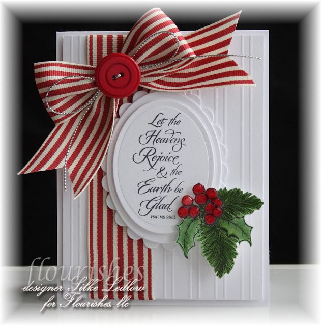 . My card started out by scoring the second layer from the Flourishes Classic White CS. The Psalm was inked and stamped onto the Spellbinder Classic Oval Dies and I layered onto the matching Scalloped Die. Both of my images were inked in Memento Tuxedo Blac