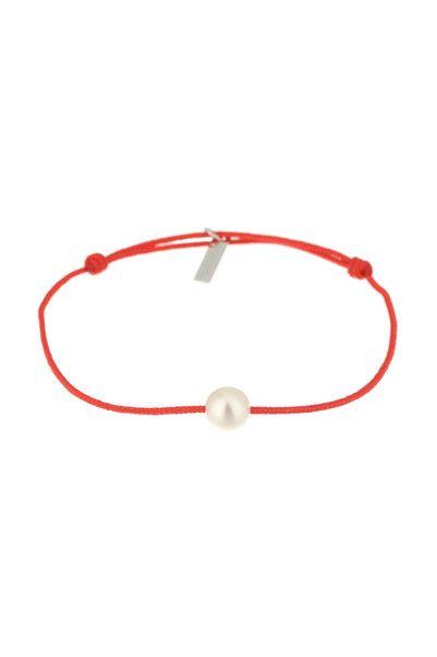 Bracelet cordon et perles Simply Pearly Corail Claverin sur MonShowroom.com