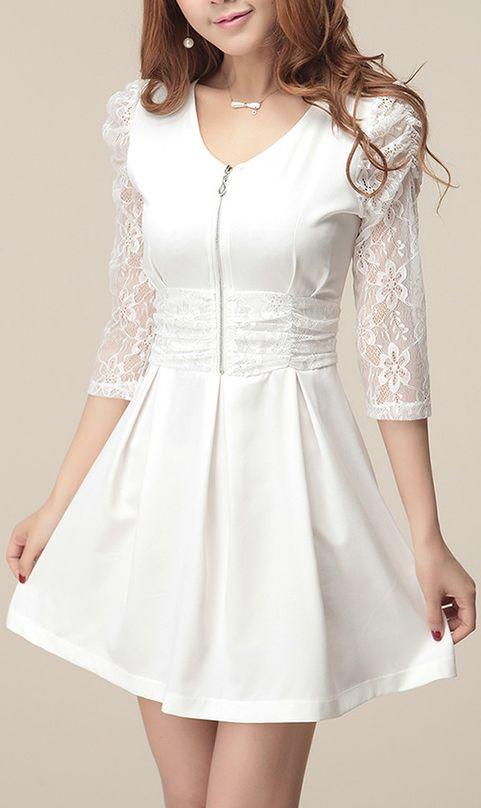 Three quarter sleeve lace-merging base dress White