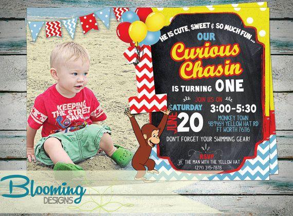 Curious George Invitation Birthday Party por BloomingDESIGNprints