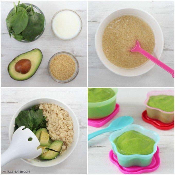 Spinat, Avocado und Cous Cous Püree   – Baby nährung