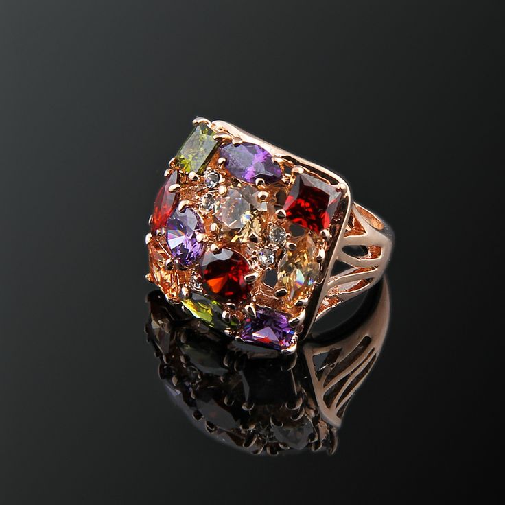 Ellora Yüzük - Avusturya kristali - Swarovski taşlar - Altın kaplama - Aksesuar - Yüzük - Dalya Takı Austrian Crystal - Swarovski stones - Gold plated - Rose gold - Accessory - Ring - Red - Orange - Purple - Green