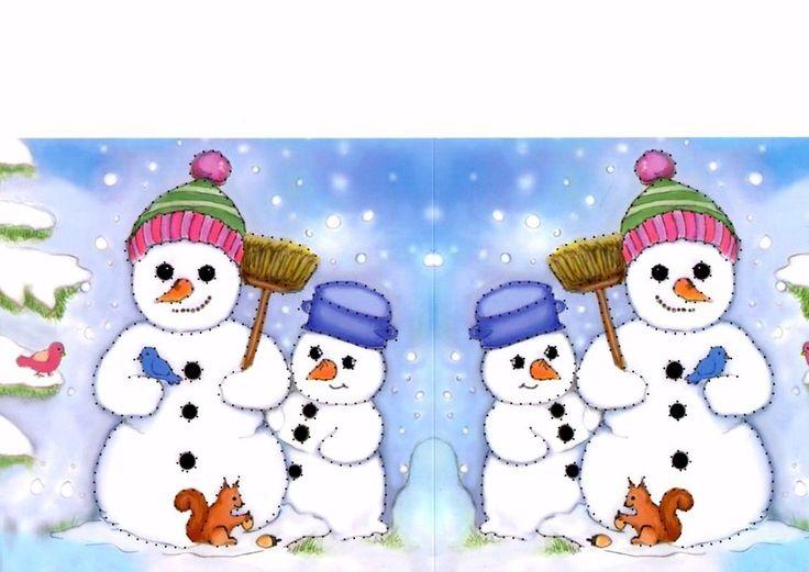 2 Prickel-Karten Schneemann Schneemänner Weihnachten Teelicht Deko Leuchte