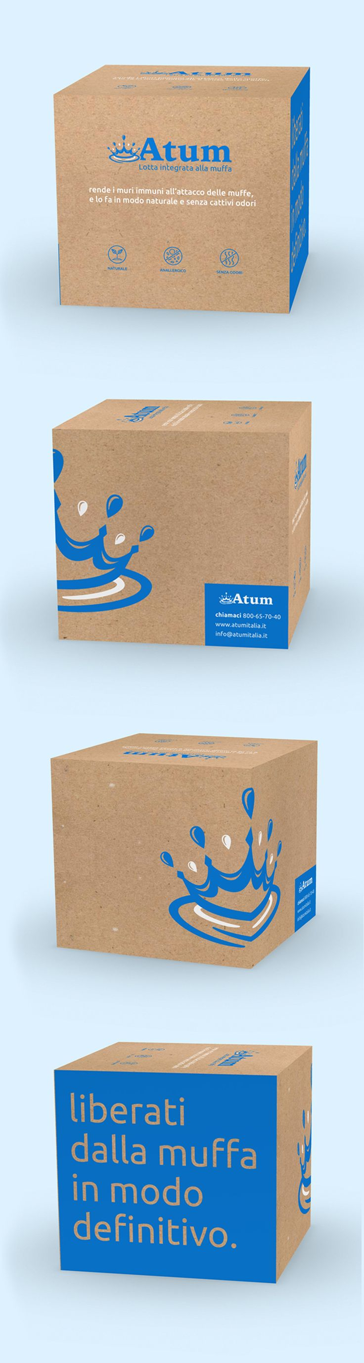 Atum Packaging, box design, 2-colour packaging, blue packaging, cardboard packaging, natural product, biodegradable product, mould control product – Graphic Design by Uniful Design  unifuldesign.com