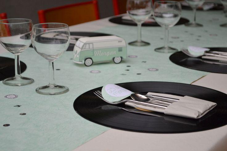 Vinyl Decoration Table : Ans anniversaire rétro combi vert d eau gris blanc