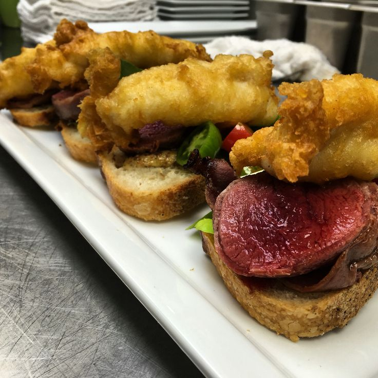 Surf and turf. Bacon wrapped tenderloin with tempura Canadian lobster tail