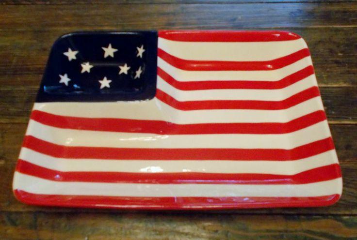 FLAG CHIP & DIP DISH SERVING PLATTER CERAMIC AMERICAN 4th ...